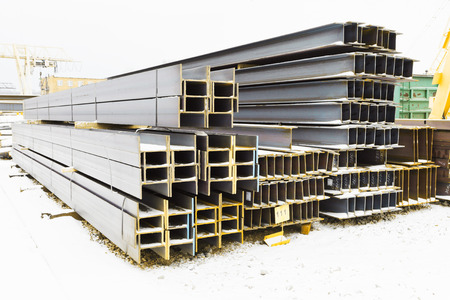 steel girder: steel girders in outdoor warehouse in winter Stock Photo