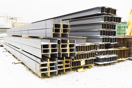 steel girders in outdoor warehouse in winter Stock Photo
