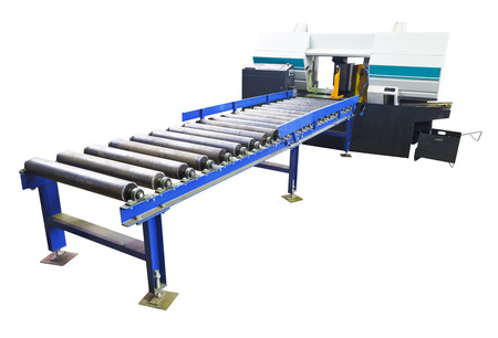 two-column band saw machine for vertical cuts with feeder isolated on white background