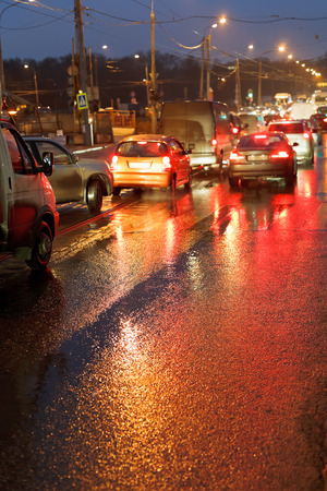 traffic jams: urban traffic in rainy night in Moscow