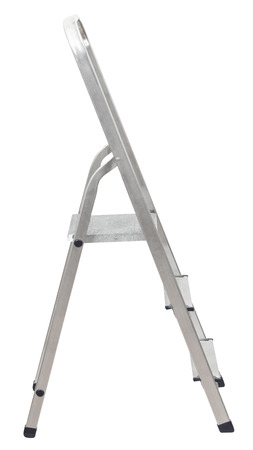 scaling ladder: short metal ladder isolated on white background Stock Photo