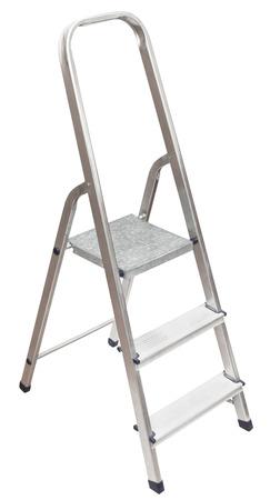 scaling ladder: short stepladder isolated on white background