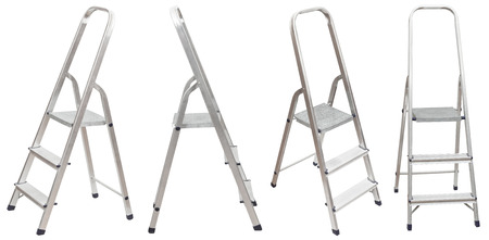 set of short folding step ladder isolated on white background photo