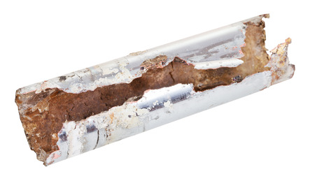sink drain: corroded chrome plated drain sink pipe isolated on white background Stock Photo