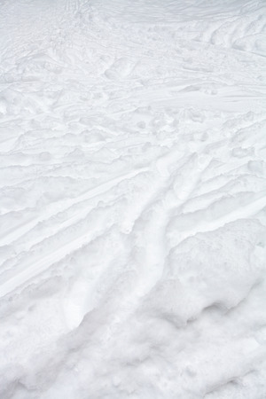 ski runs: ski runs and paths in snow in winter day Stock Photo