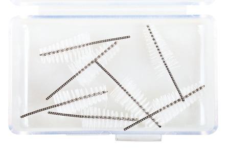 refills: Interdental Brush Refills in plastic box isolated on white background