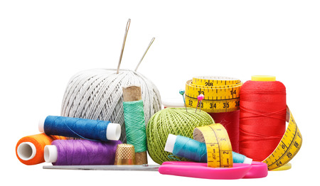 set of needlework objects isolated on white background photo