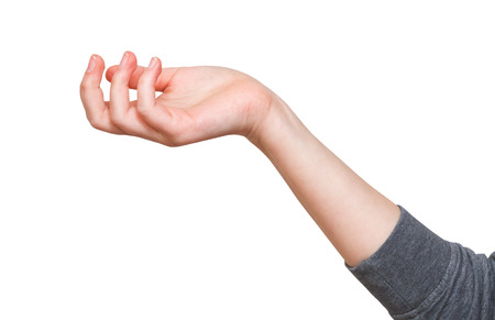 perplexity: perplexity - hand gesture with cupped palm isolated on white background