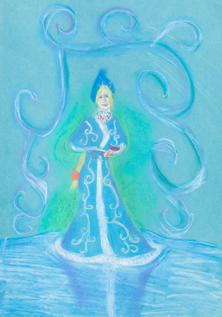 maiden: childs drawing - snow maiden on blue ice