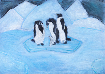 floe: childs drawing - penguins on ice floe in cold blue night
