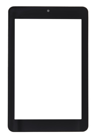 front view of tablet pc with cut out screen isolated on white background Archivio Fotografico