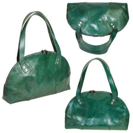 pochette: set of green leather handbags isolated on white background