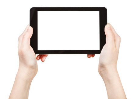 tablet: hands holds tablet-pc with cut out screen isolated on white background