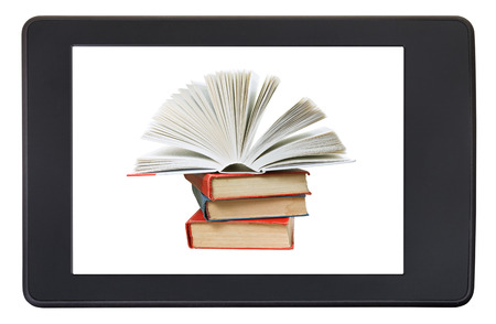 pile of books: pile books on screen of e-book reader isolated on white background