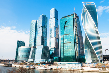 Towers of Moscow City business district in sunny spring day