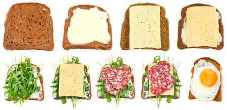 sandwich spread: set of sandwiches from toasted rye bread isolated on white background Stock Photo