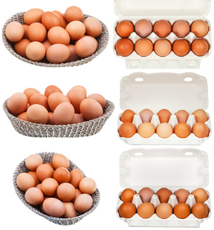 set of chicken eggs in containers and baskets isolated on white background photo