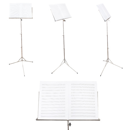 music book: set of music stands with blank music book isolated on white background