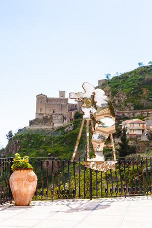 the godfather: SAVOCA, ITALY - APRIL 4, 2015: Statue of Francis Ford Coppola created by Nino Ucchino - a local artist. The town Savoca was location for scenes set in Corleone of Francis Ford Coppolas The Godfather. Editorial