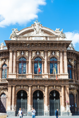 massimo: CATANIA, ITALY - APRIL 5, 2015: facade of Teatro Massimo Bellini on Piazza Vincenzo Bellini in Catania, Sicily, Italy. Teatro Massimo Bellini is an opera house, it was inaugurated on 31 May 1890.