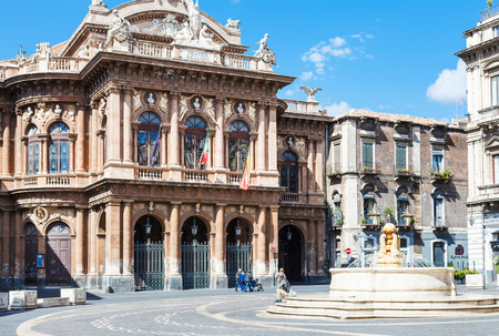 massimo: CATANIA, ITALY - APRIL 5, 2015: Theater Massimo Bellini on square Vincenzo Bellini in Catania, Sicily, Italy. Teatro Massimo Bellini is an opera house, it was inaugurated on 31 May 1890.