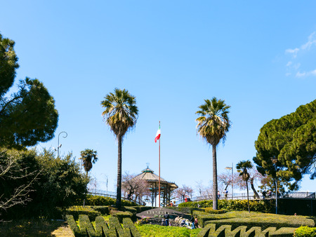 bellini: CATANIA, ITALY - APRIL 5, 2015: Bellini Garden in Catania city, Sicily, Italy. The Bellini Garden is in via Etnea, the most beatiful part of Catania, and its surface is over 70000 square meters