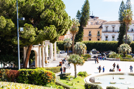bellini: CATANIA, ITALY - APRIL 5, 2015: entrance in Bellini Garden in Catania, Sicily, Italy. The Bellini Garden is in via Etnea, the most beatiful part of Catania, and its surface is over 70000 square meters Editorial