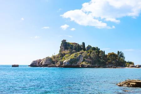 isola: island Isola Bella in Ionian Sea near Taormina town, Sicily in spring
