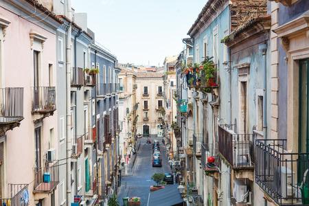 residential street: residential street (via Penninello) in Catania city, Sicily, Italy Stock Photo