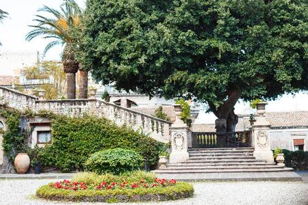 law school: steps and garden in Villa Cerami - Law School of Catania University on Via Crociferi, Sicily, Italy