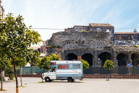 greco roman  roman: view of Roman Odeon from Via Teatro Greco in Catania city, Sicily, Italy