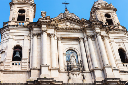 st  francis: facade of Saint Francis of Assisi Nigh the Immaculate church in Catania city, Sicily, Italy Stock Photo