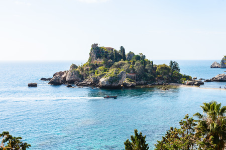 bella: small island Isola Bella near Taormina town, Sicily in spring Stock Photo