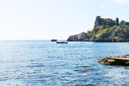 isola: view of Ionian Sea near Isola Bella beach in Sicily, Italy Stock Photo