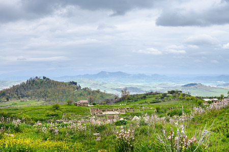 landscape with Morgantina archaeological site in Sicily in spring, Italy photo