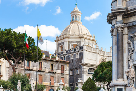 santagata: view of dome Saint Agatha Cathedral from Piazza del Duomo in Catania city, Sicily, Italy