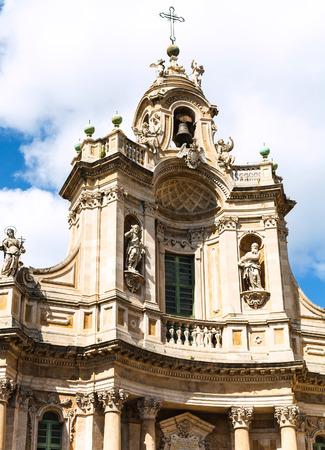 facade of Basilica della Collegiata (Santa Maria dell  Elemosina) on via Entnea, Catania, Sicily, Italy photo