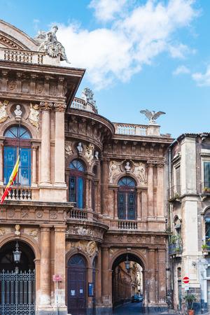 bellini: Theater Massimo Bellini and arch to via Giuseppe Perrotta on square Vincenzo Bellini in Catania, Sicily, Italy