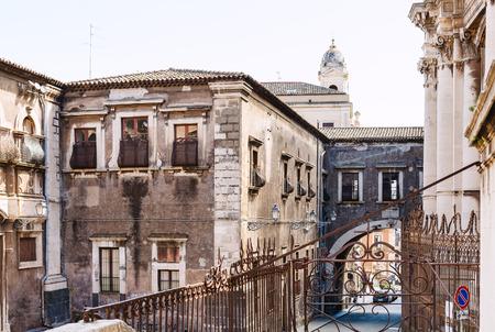 Baroque Style Houses On Street Via Crociferi And Teatro Greco In Catania City Sicily