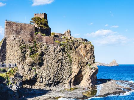 norman castle: Norman castle in Aci Castello village and Cyclopean Rocks (Islands of the Cyclops), Sicily, Italy