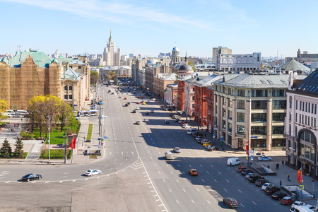 kotelnicheskaya embankment: MOSCOW, RUSSIA - MAY 7, 2015: Lubyanskaya and Novaya Square in Moscow city in spring day. Lubyanka is square in hitorical center of Moscow city, it is about 900 metres north east of Red Square.