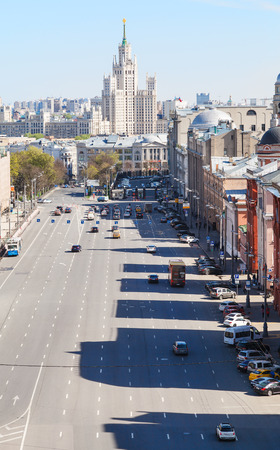 kotelnicheskaya embankment: MOSCOW, RUSSIA - MAY 7, 2015: urban scenery with Lubyanka and Novaya Square in spring day. Lubyanka is square in hitorical center of Moscow city, it is about 900 metres north east of Red Square. Editorial