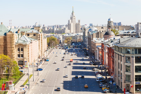 kotelnicheskaya embankment: MOSCOW, RUSSIA - MAY 7, 2015: above view of Lubyanka and Novaya Square in spring day. Lubyanka is square in hitorical center of Moscow city, it is about 900 metres north east of Red Square.