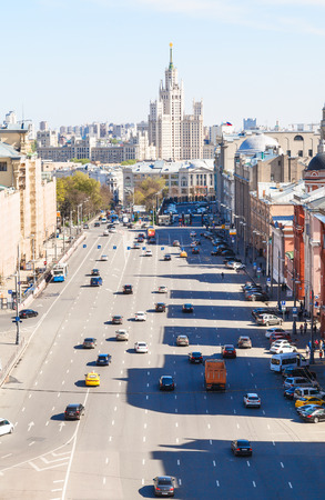 kotelnicheskaya embankment: MOSCOW, RUSSIA - MAY 7, 2015: view of Lubyanskay and Novaya Square in spring day. Lubyanka is square in hitorical center of Moscow city, it is about 900 metres north east of Red Square.