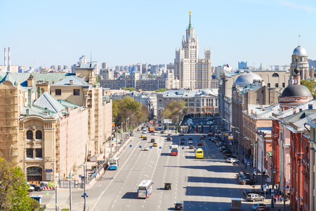 kotelnicheskaya embankment: MOSCOW, RUSSIA - MAY 7, 2015: cityscape with Lubyanka and Novaya Square in spring day. Lubyanka is square in hitorical center of Moscow city, it is about 900 metres north east of Red Square.