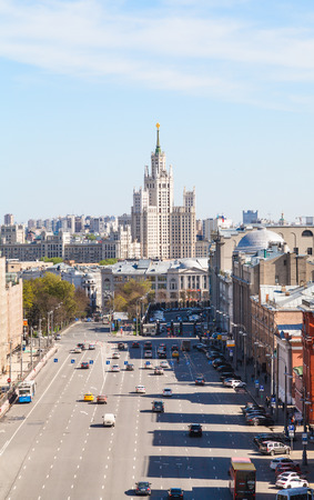 kotelnicheskaya embankment: MOSCOW, RUSSIA - MAY 7, 2015: Lubyanka and Novaya Square in spring day. Lubyanka is square in hitorical center of Moscow city, it is about 900 metres north east of Red Square.