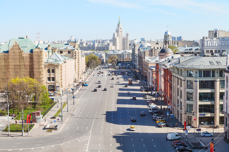 kotelnicheskaya embankment: MOSCOW, RUSSIA - MAY 7, 2015: skyline with Lubyanka and Novaya Square in spring day. Lubyanka is square in hitorical center of Moscow city, it is about 900 metres north east of Red Square.