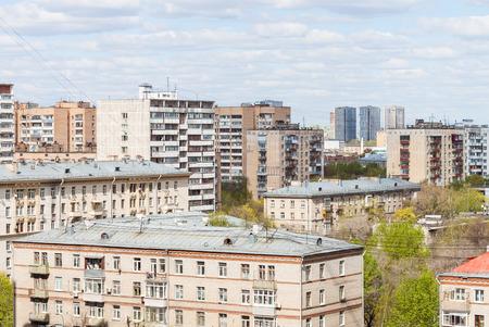 city living: city living quarter in sunny spring day Stock Photo
