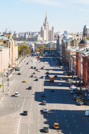 kotelnicheskaya embankment: cityscape - above view of Lubyanka Square in historical center of Moscow city in sunny spring day