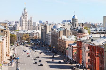 kotelnicheskaya embankment: above view of Lubyanskaya and Novaya Square in Moscow in spring day